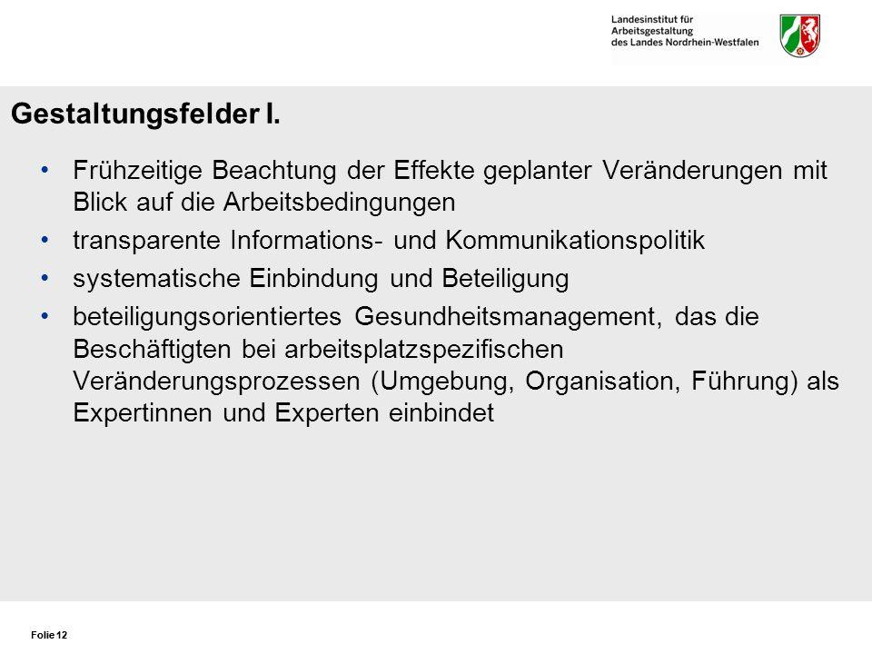 Gestaltungsfelder I. Frühzeitige Beachtung der Effekte geplanter Veränderungen mit Blick auf die Arbeitsbedingungen.
