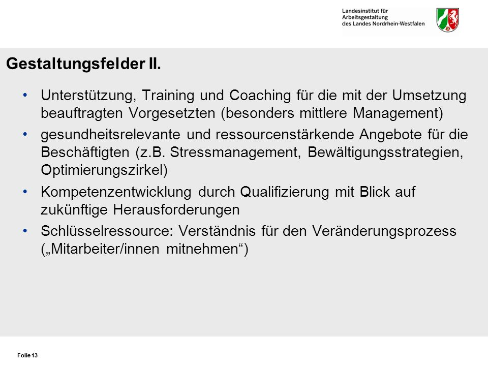 Gestaltungsfelder II. Unterstützung, Training und Coaching für die mit der Umsetzung beauftragten Vorgesetzten (besonders mittlere Management)