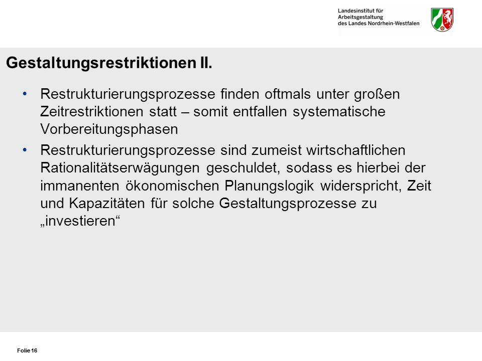 Gestaltungsrestriktionen II.