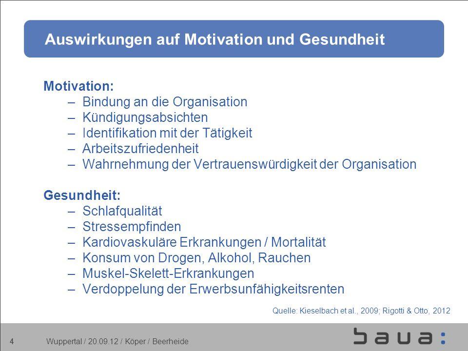 Auswirkungen auf Motivation und Gesundheit
