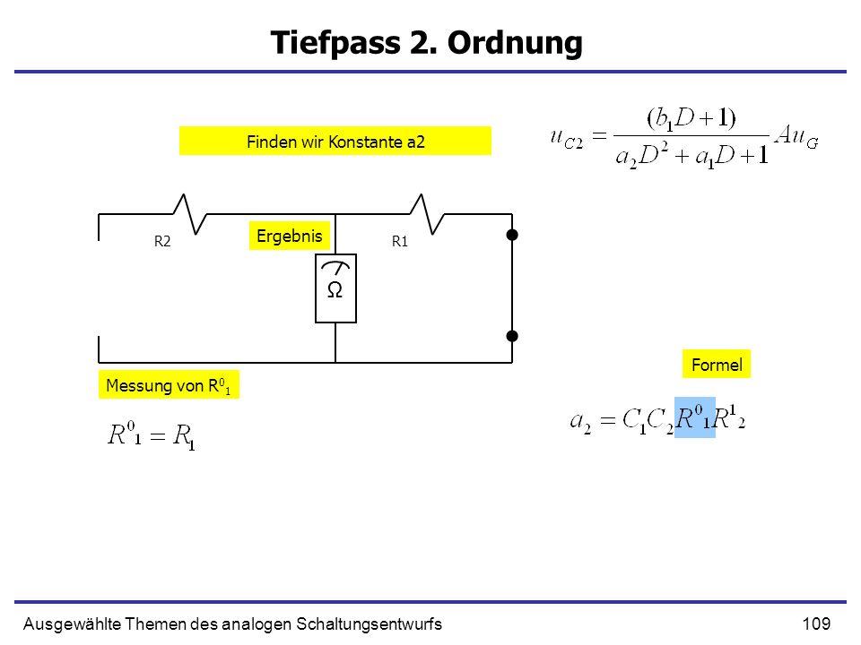 Tiefpass 2. Ordnung Ω Finden wir Konstante a2 Ergebnis Formel