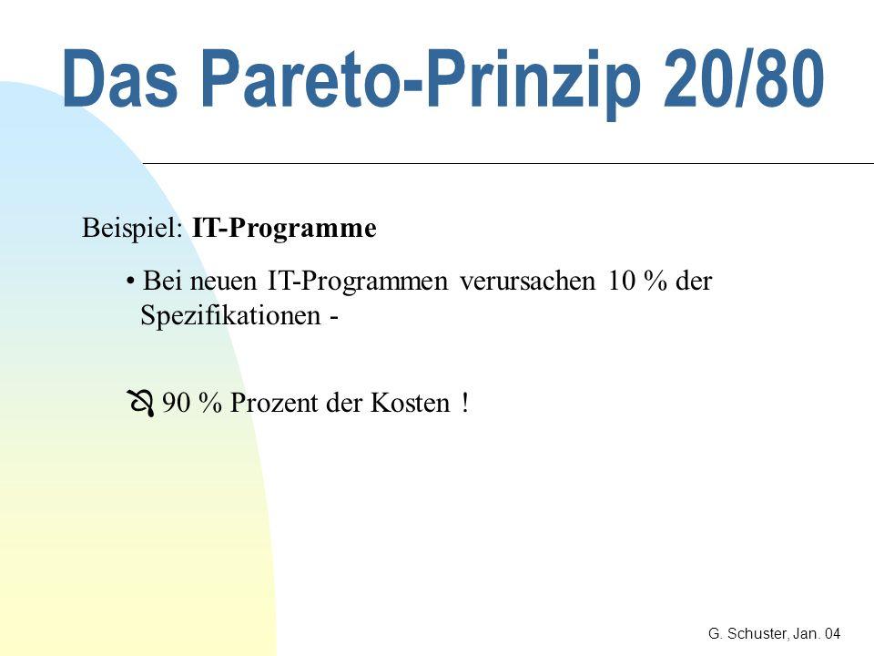 Das Pareto-Prinzip 20/80 Beispiel: IT-Programme