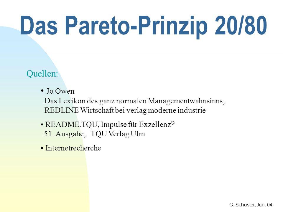 Das Pareto-Prinzip 20/80 Quellen: