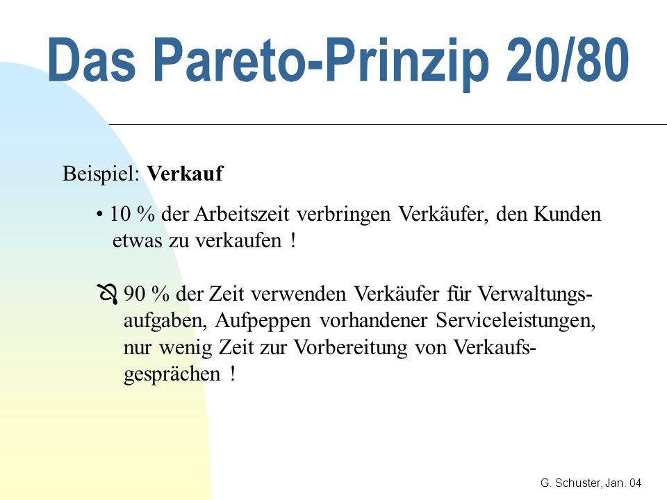 Das Pareto-Prinzip 20/80 Beispiel: Verkauf