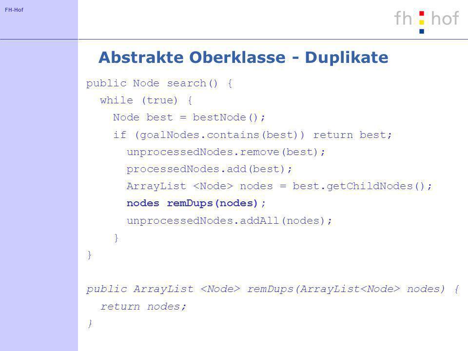 Abstrakte Oberklasse - Duplikate