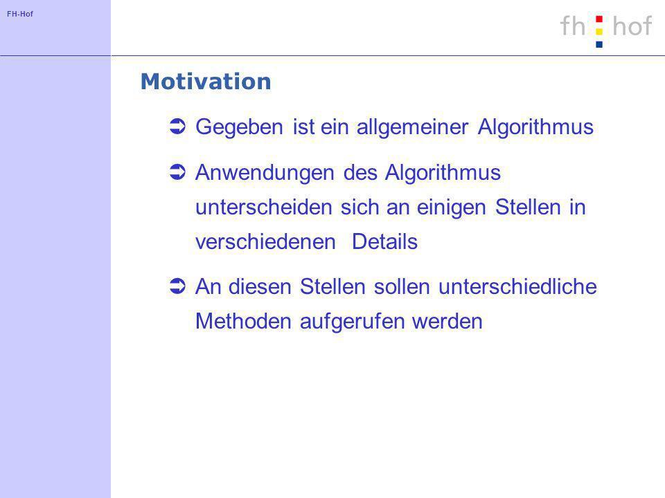 Motivation Gegeben ist ein allgemeiner Algorithmus. Anwendungen des Algorithmus unterscheiden sich an einigen Stellen in verschiedenen Details.