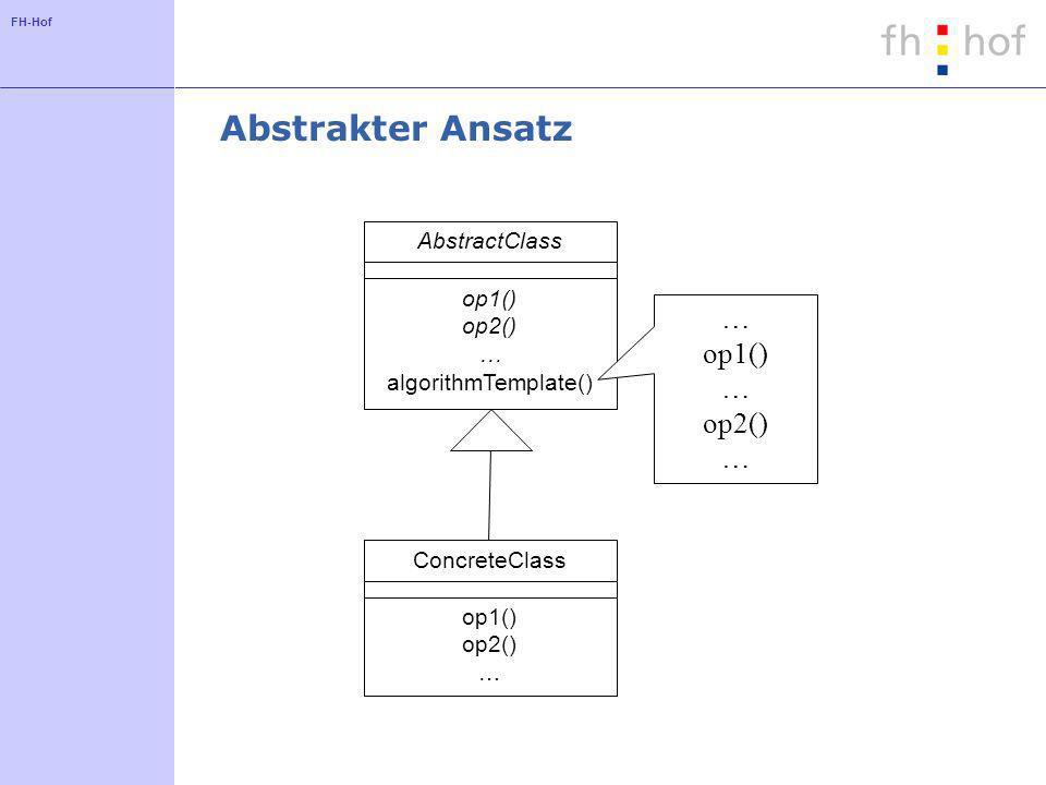 Abstrakter Ansatz … op1() op2() AbstractClass op1() op2() …