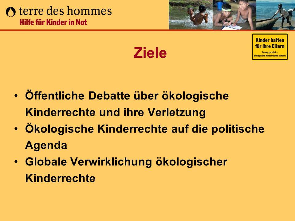 Ziele Öffentliche Debatte über ökologische Kinderrechte und ihre Verletzung. Ökologische Kinderrechte auf die politische Agenda.