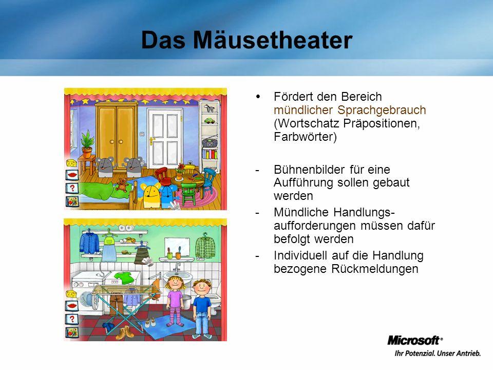 Das Mäusetheater Fördert den Bereich mündlicher Sprachgebrauch (Wortschatz Präpositionen, Farbwörter)