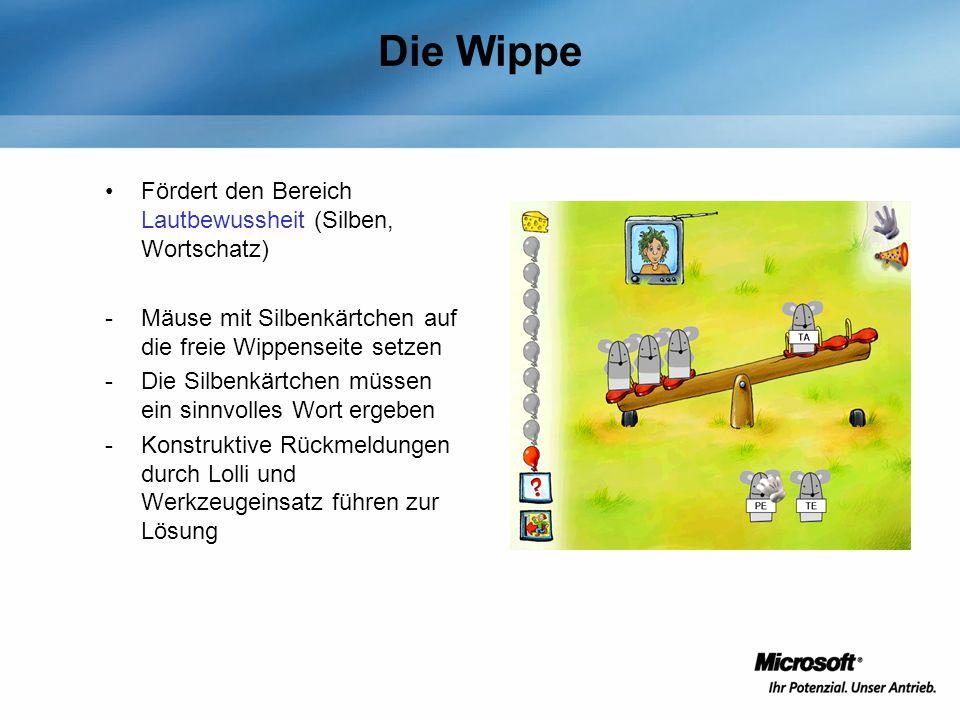 Die Wippe Fördert den Bereich Lautbewussheit (Silben, Wortschatz)