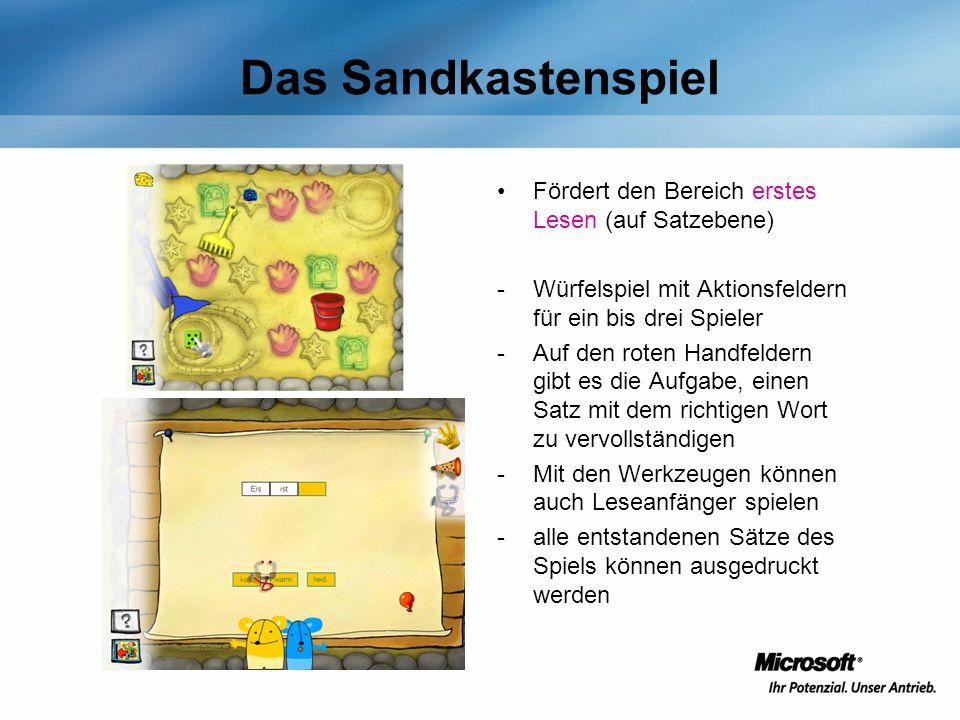 Das Sandkastenspiel Fördert den Bereich erstes Lesen (auf Satzebene)
