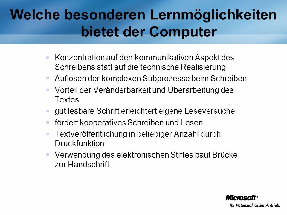 Welche besonderen Lernmöglichkeiten bietet der Computer