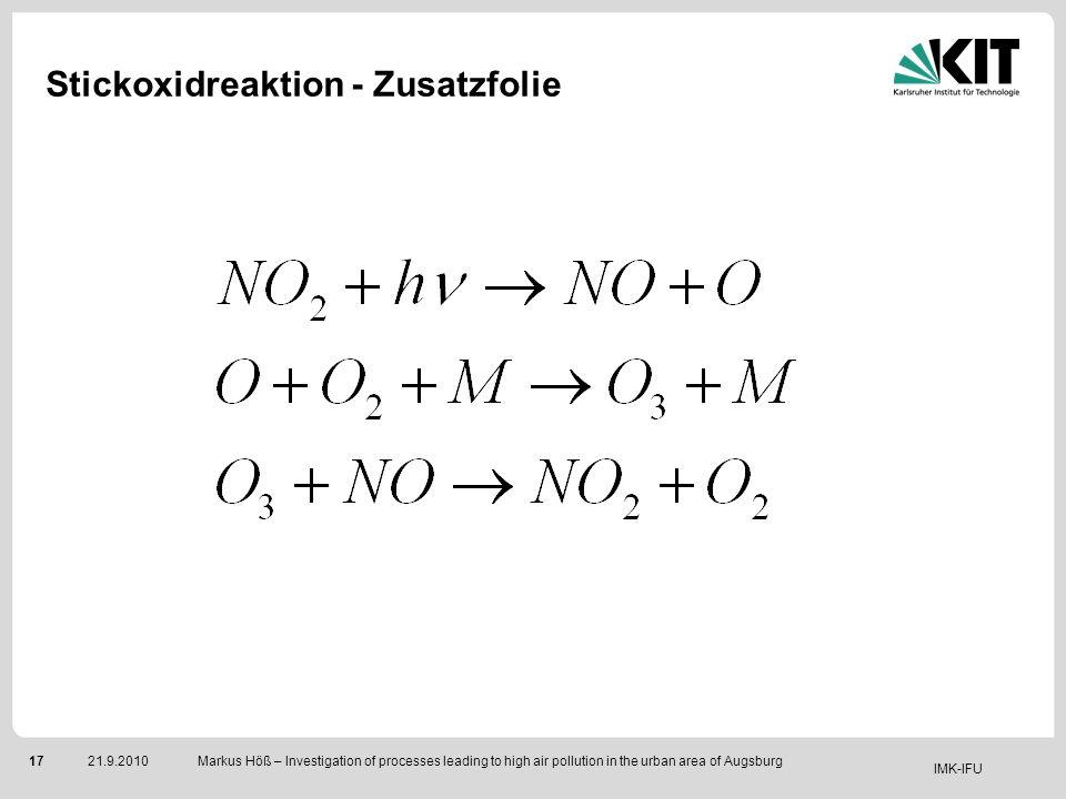 Stickoxidreaktion - Zusatzfolie