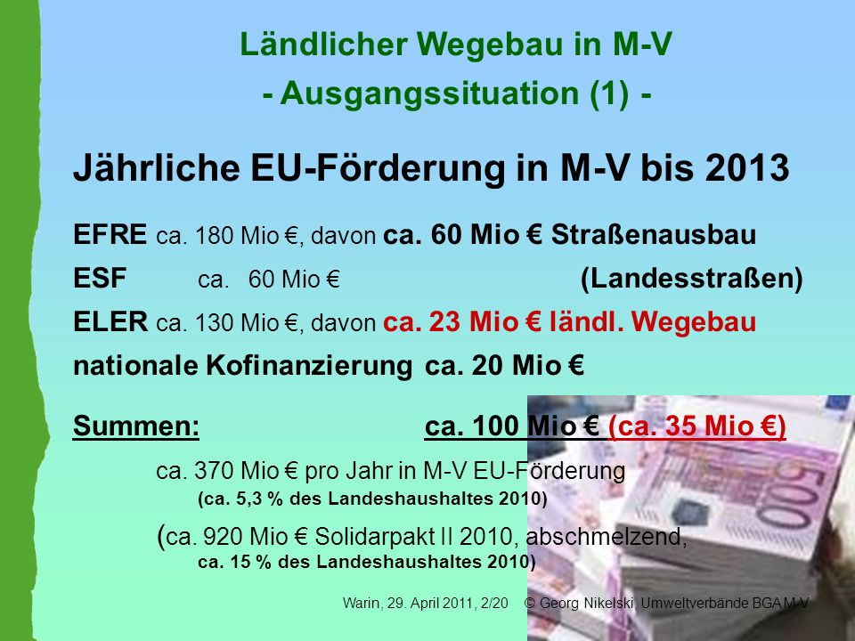 Ländlicher Wegebau in M-V - Ausgangssituation (1) -