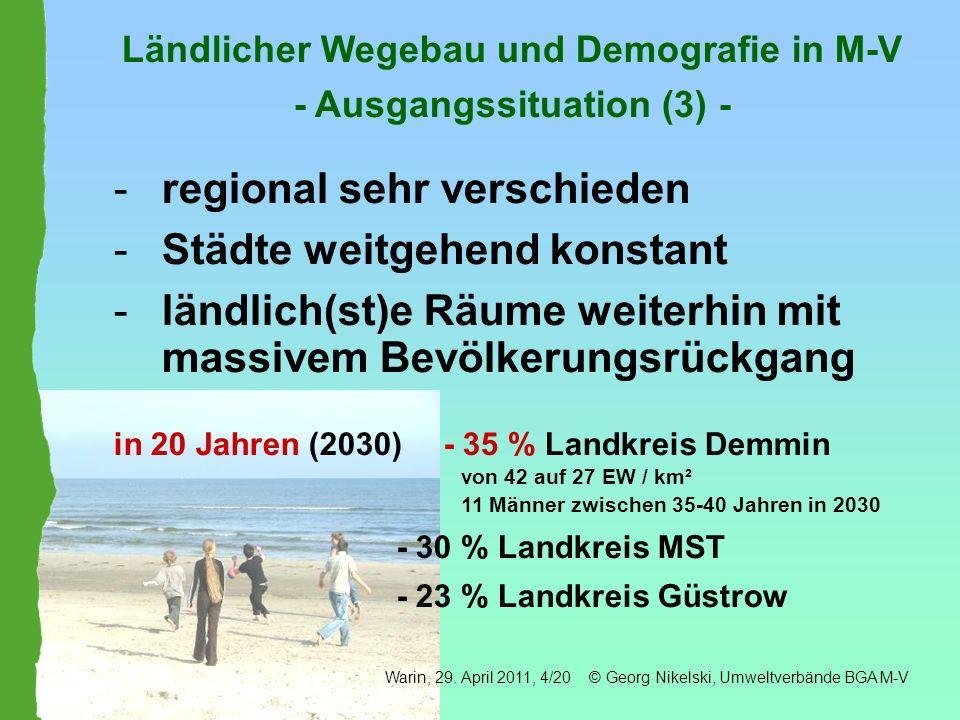 Ländlicher Wegebau und Demografie in M-V - Ausgangssituation (3) -