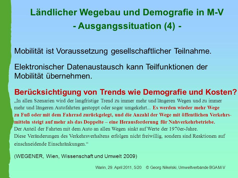 Ländlicher Wegebau und Demografie in M-V - Ausgangssituation (4) -