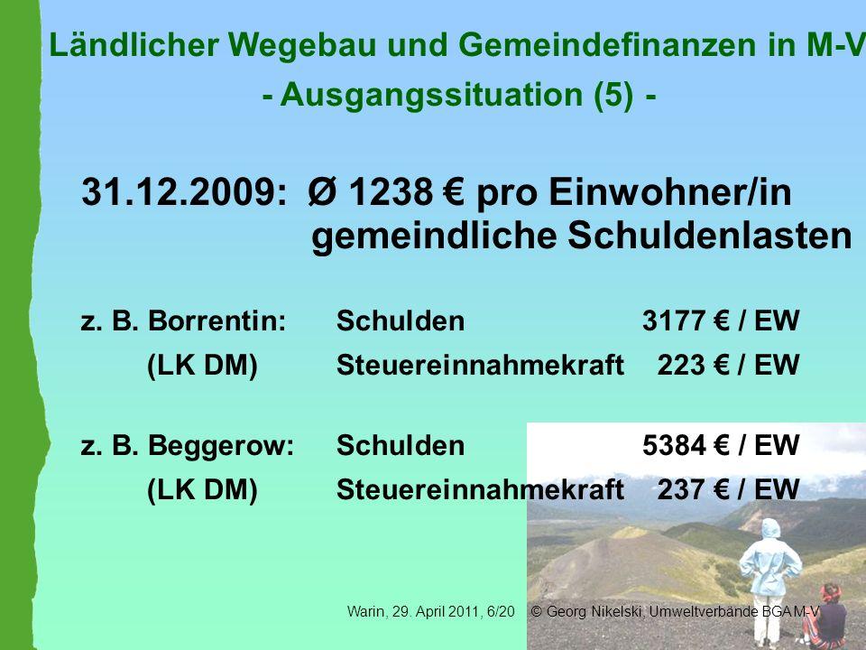 31.12.2009: Ø 1238 € pro Einwohner/in gemeindliche Schuldenlasten