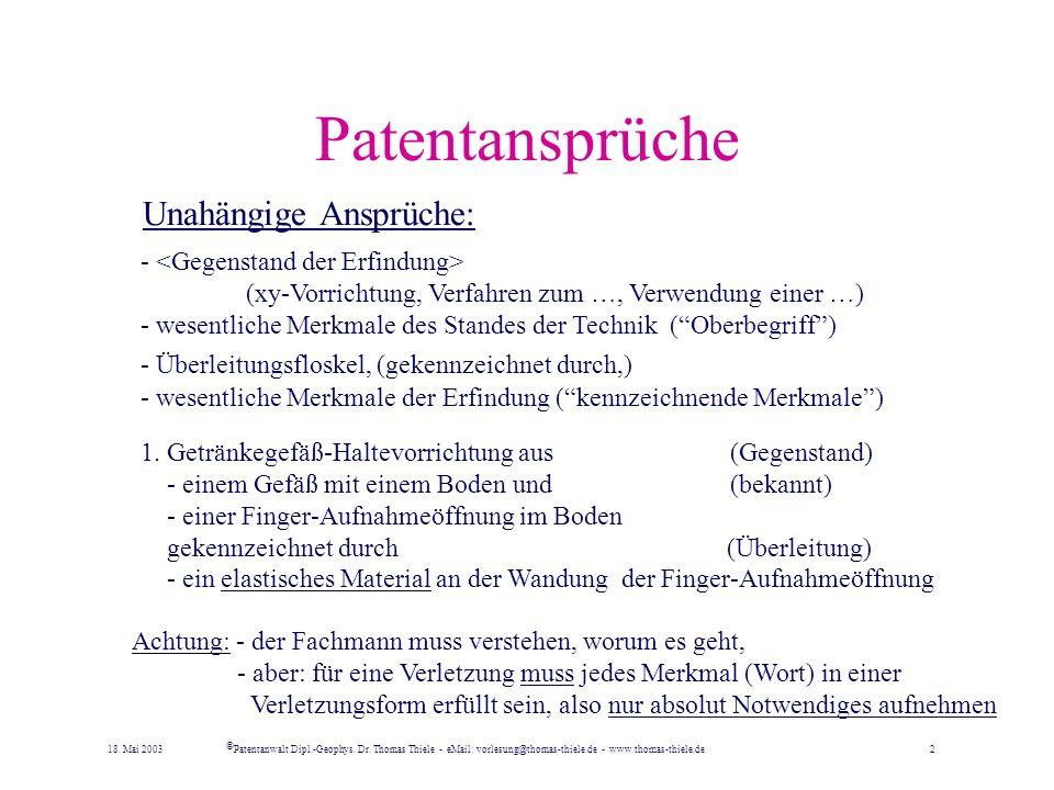 Patentansprüche Unahängige Ansprüche: