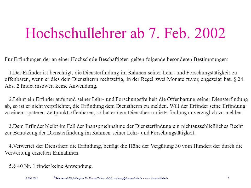 Hochschullehrer ab 7. Feb. 2002