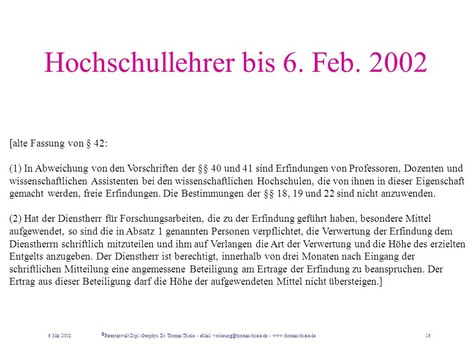 Hochschullehrer bis 6. Feb. 2002