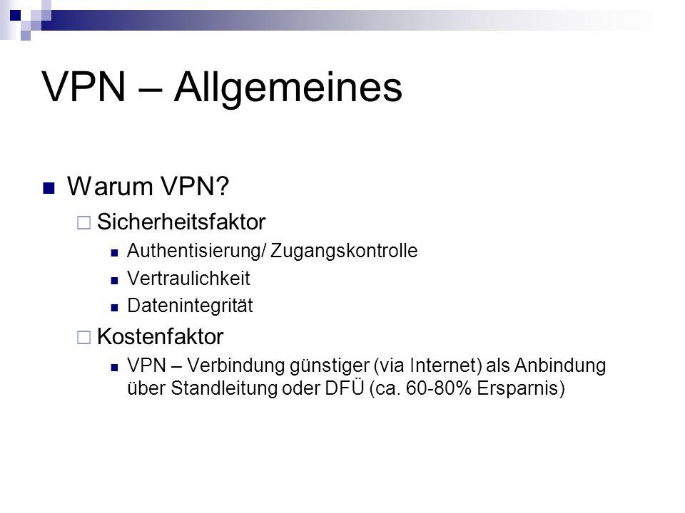 VPN – Allgemeines Warum VPN Sicherheitsfaktor Kostenfaktor