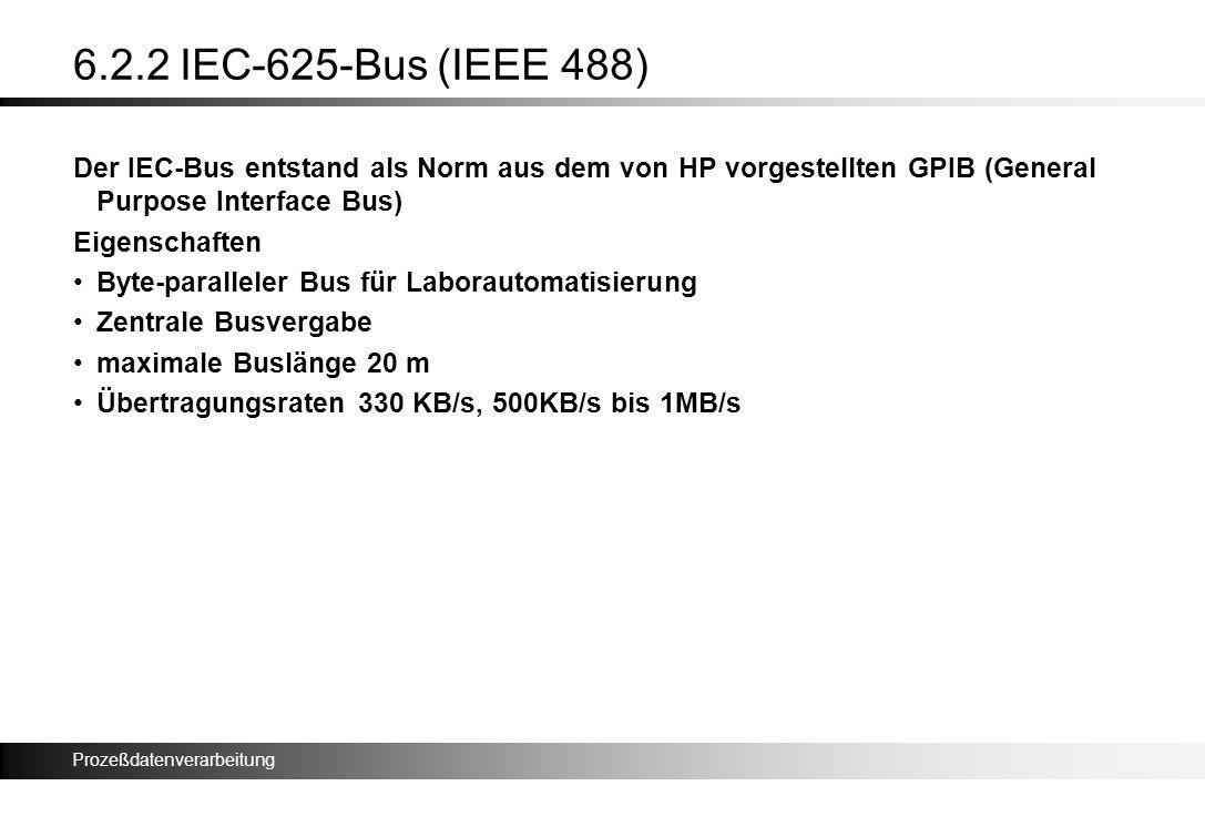 6.2.2 IEC-625-Bus (IEEE 488) Der IEC-Bus entstand als Norm aus dem von HP vorgestellten GPIB (General Purpose Interface Bus)