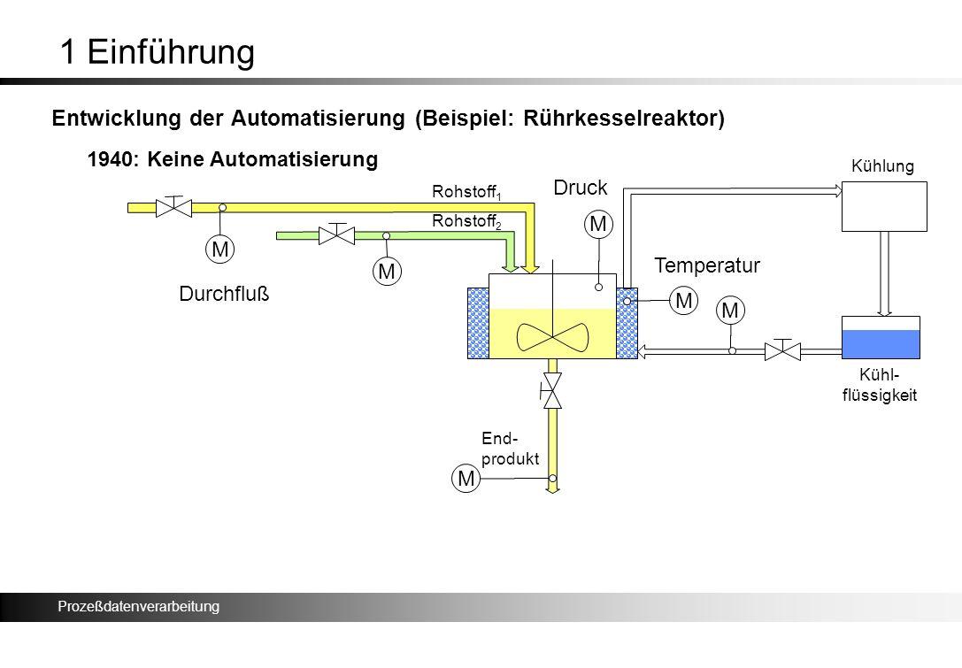 1 Einführung Entwicklung der Automatisierung (Beispiel: Rührkesselreaktor) 1940: Keine Automatisierung.