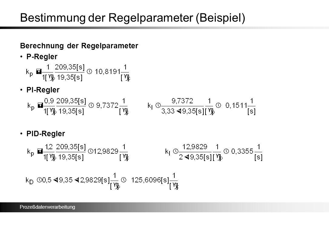 Bestimmung der Regelparameter (Beispiel)