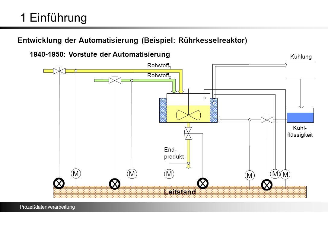 1 Einführung Entwicklung der Automatisierung (Beispiel: Rührkesselreaktor) 1940-1950: Vorstufe der Automatisierung.