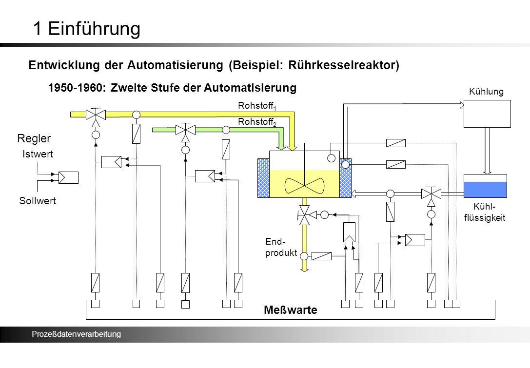1 Einführung Entwicklung der Automatisierung (Beispiel: Rührkesselreaktor) 1950-1960: Zweite Stufe der Automatisierung.