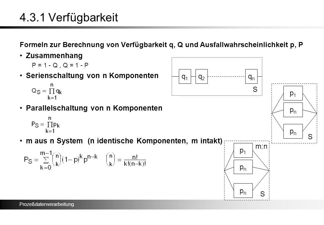 4.3.1 Verfügbarkeit Zusammenhang Serienschaltung von n Komponenten