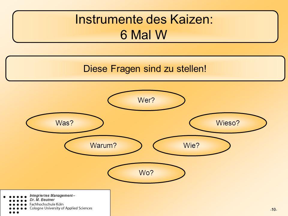 Instrumente des Kaizen: 6 Mal W