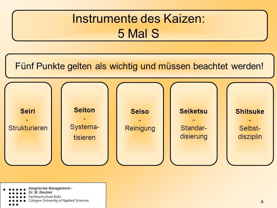 Instrumente des Kaizen: 5 Mal S