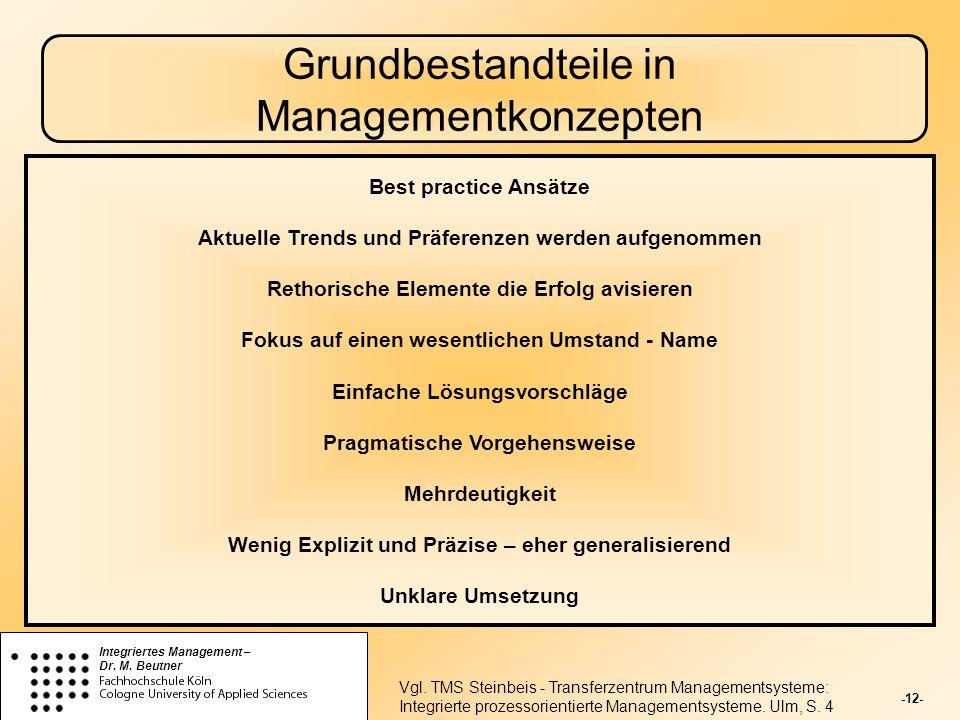 Grundbestandteile in Managementkonzepten