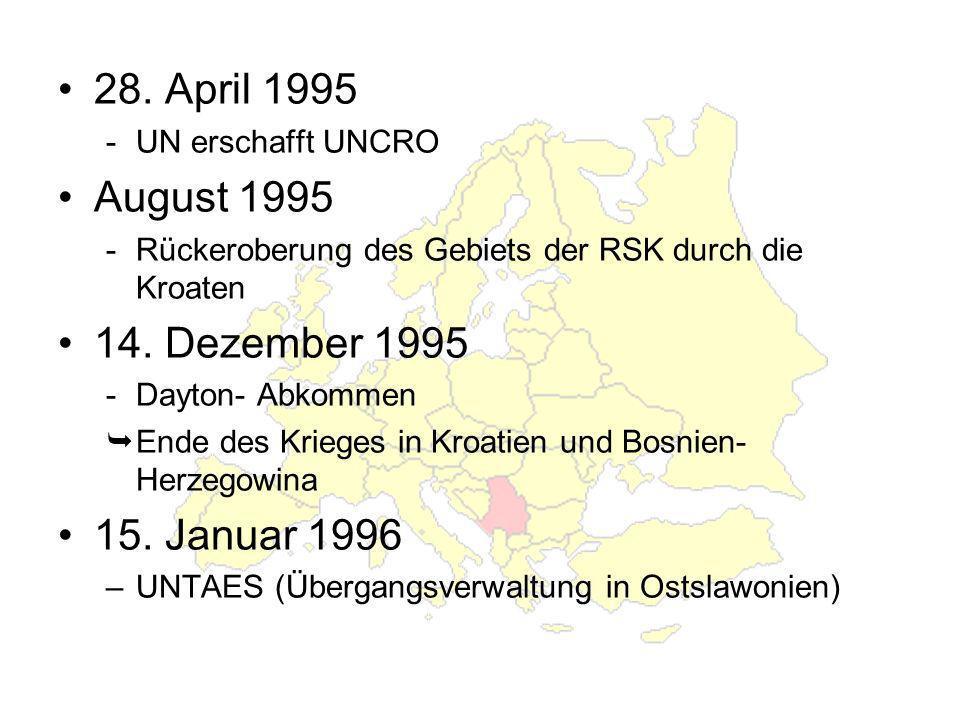 28. April 1995 August 1995 14. Dezember 1995 15. Januar 1996