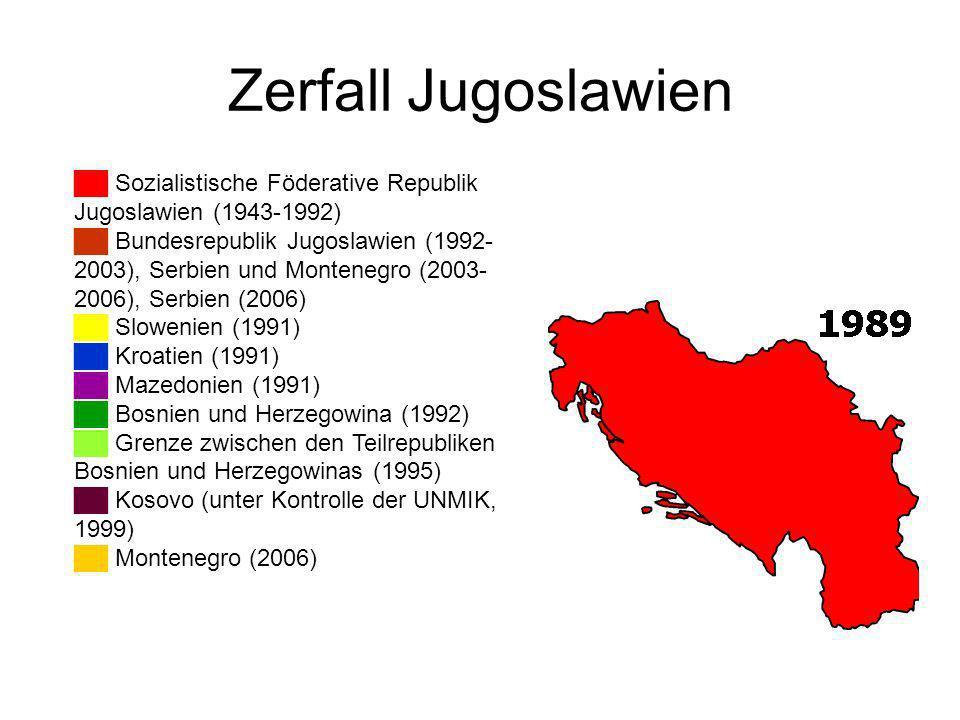 Zerfall Jugoslawien ██ Sozialistische Föderative Republik Jugoslawien (1943-1992)