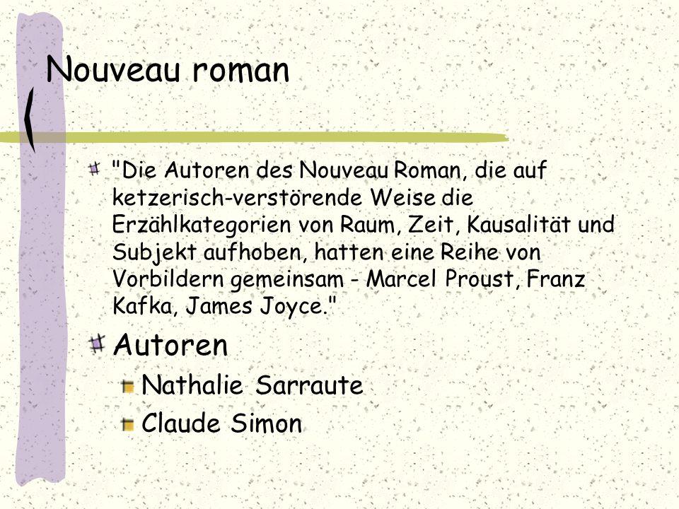 Nouveau roman Autoren Nathalie Sarraute Claude Simon