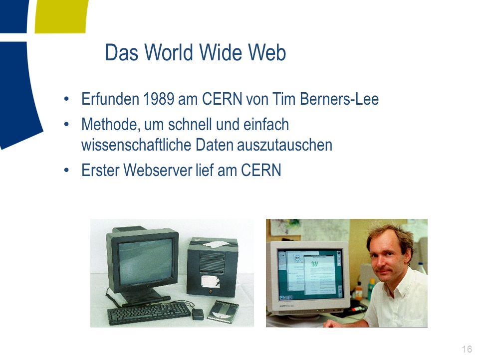 Das World Wide Web Erfunden 1989 am CERN von Tim Berners-Lee