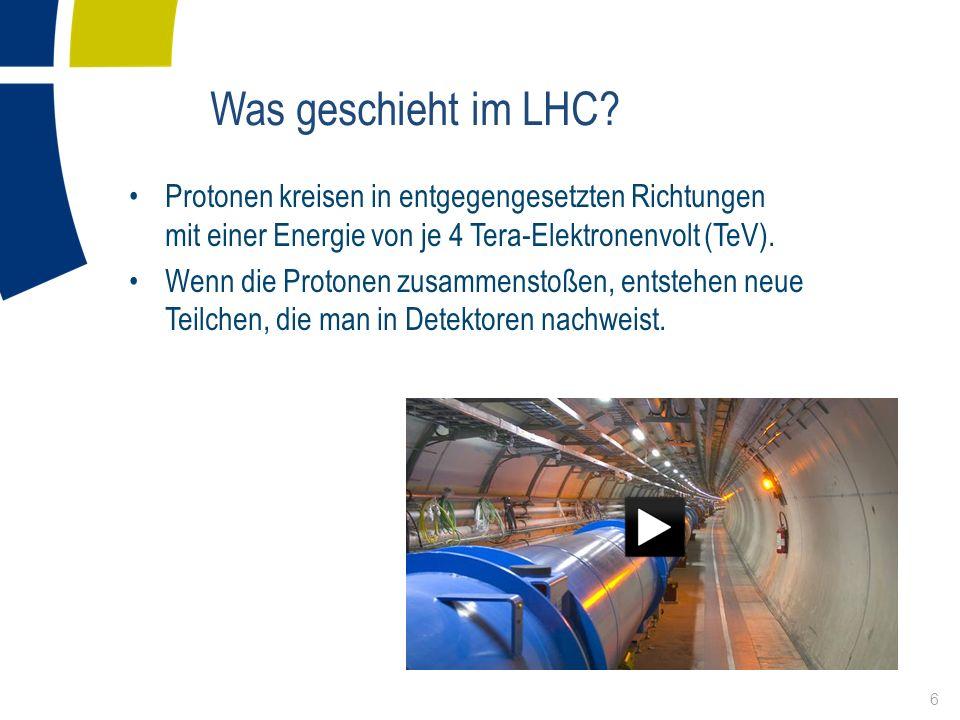 Was geschieht im LHC Protonen kreisen in entgegengesetzten Richtungen mit einer Energie von je 4 Tera-Elektronenvolt (TeV).