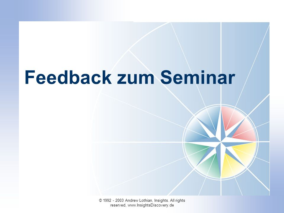 Feedback zum Seminar IDA-7 Building the Wheel (4 to 72 Types)