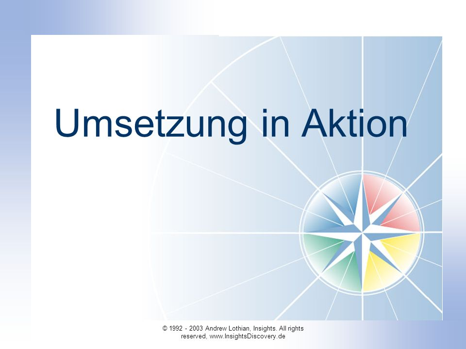Umsetzung in Aktion © 1992 - 2003 Andrew Lothian, Insights.