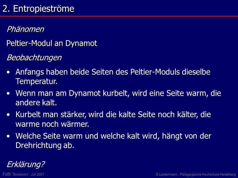 2. Entropieströme Phänomen Peltier-Modul an Dynamot Beobachtungen