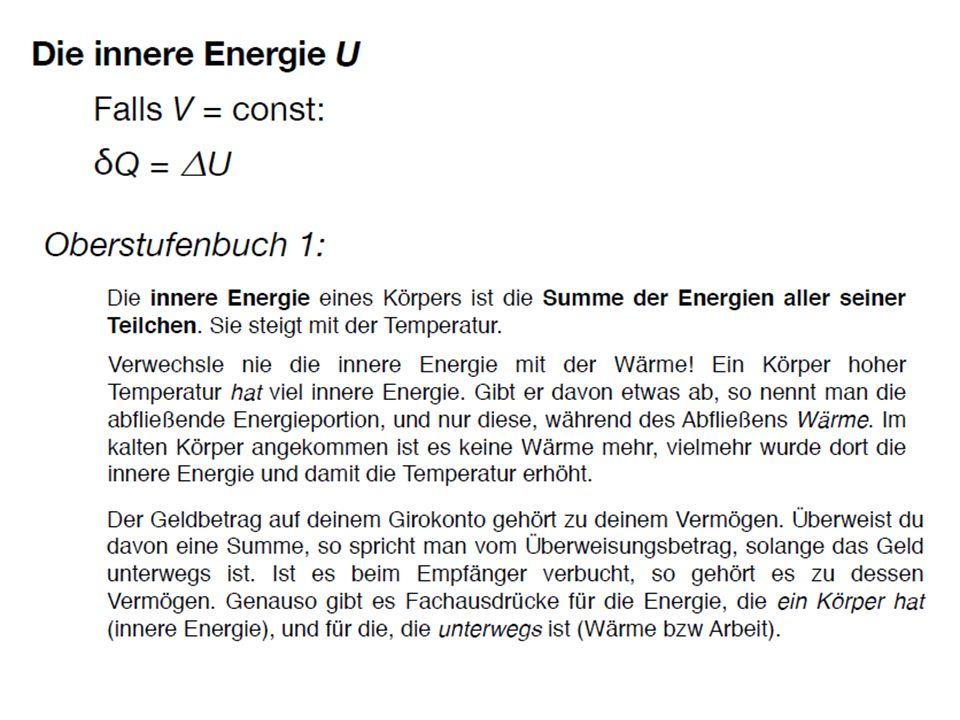 Wenn man nur Prozesse eines Systems betrachtet, bei denen das Volumen konstant gehalten wird, und bei denen kein Stoffaustausch mit der Umgebung stattfindet, kann das System Energie nur über die Wärme austauschen, und seine innere Energie verhält sich wie eine Wärmefunktion, d.h. ein Maß für den Wärmeinhalt. Die Änderungen des Wertes der inneren Energie hängt dann nur davon ab, wie viel Wärme das System austauscht: trivialerweise, denn ich habe alle anderen Energieaustausche verboten.