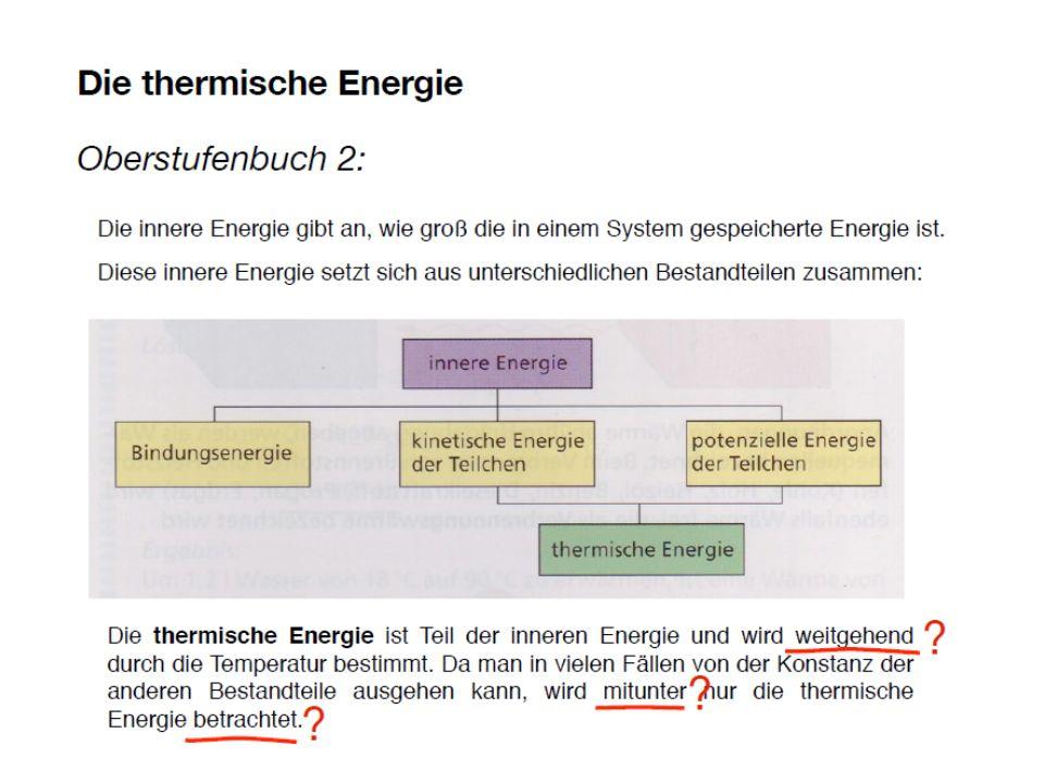 Wenden wir uns nun noch einer letzten Konstruktion zu, der thermischen Energie. Ich nehme an, Sie kennen die Bezeichnung, und vielleicht haben Sie auch eine Vorstellung davon, um was es sich dabei handeln soll. Sie ist angeblich ein Anteil der inneren Energie.