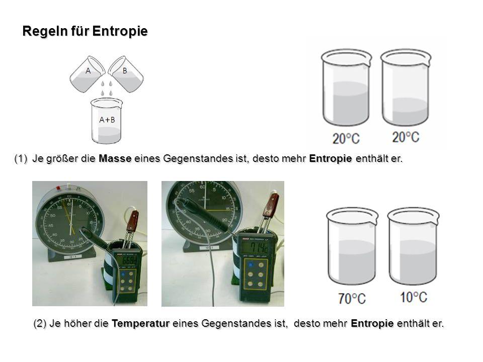 Regeln für EntropieJe größer die Masse eines Gegenstandes ist, desto mehr Entropie enthält er.