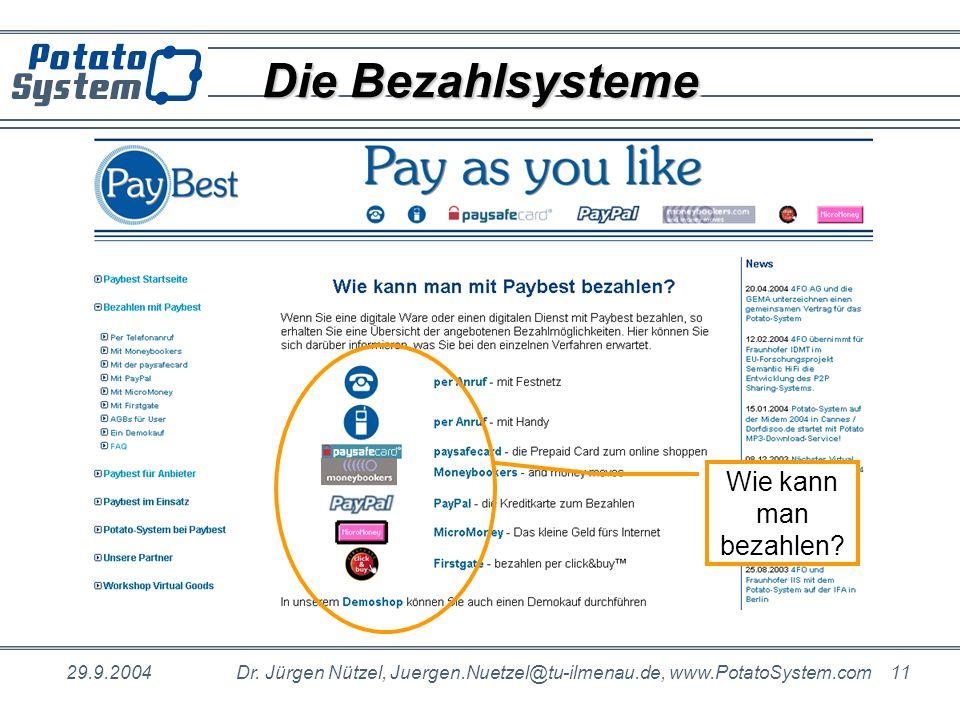 Die Bezahlsysteme Wie kann man bezahlen 29.9.2004