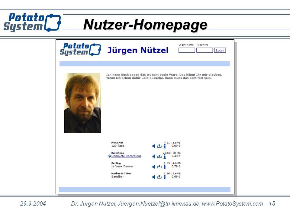 Nutzer-Homepage 29.9.2004. Dr.