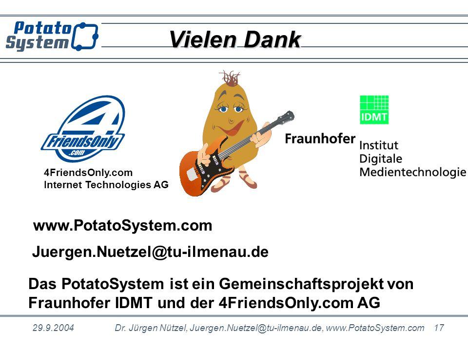 Vielen Dank www.PotatoSystem.com Juergen.Nuetzel@tu-ilmenau.de