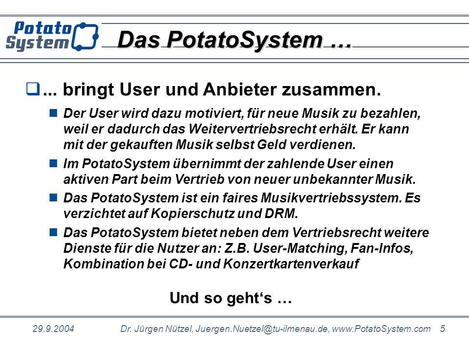 Das PotatoSystem … ... bringt User und Anbieter zusammen.
