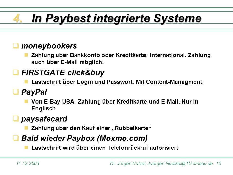 In Paybest integrierte Systeme